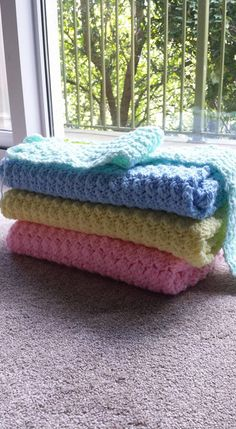 Some of the baby blankets I made for the Warm Up America Foundation. These were shipped and distributed in Texas.