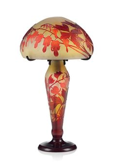 Collection of Principessa Ismene Chigi Della Rovere. A Gallé cameo glass 'Bleeding Hearts' table lamp, circa 1910.