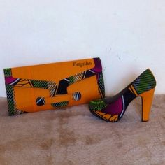 Shoe with a matching clutch bag made with african print by Bayabs