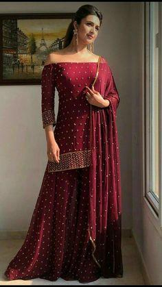 Designer Kurtis, Indian Designer Suits, Indian Gowns Dresses, Indian Fashion Dresses, Pakistani Dresses, Indian Wedding Outfits, Bridal Outfits, Indian Outfits, Sharara Designs