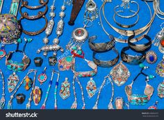 full frame shot of moroccan jewelry in chefchaouen