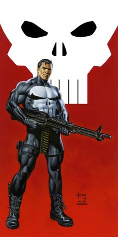 The Punisher by Joe Jusko (after Bill Reinhold) The Punisher, Punisher Comics, Marvel Comics Art, Marvel Comic Universe, Comics Universe, Marvel Heroes, Captain Marvel, Marvel Marvel, Comic Book Characters