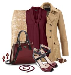 Office outfit: Nude - Burgundy by downtownblues on Polyvore featuring polyvore, fashion, style, Nine West, le top and clothing