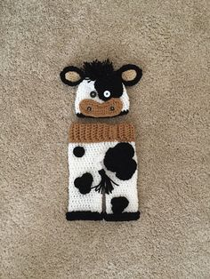 Boy Black and White Crochet Cow Hat and Pant by DanitasBoutique Crochet  Baby Pants 67fa48b5470