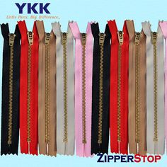 7 inch YKK Brass zips- ykk Pants 4 with YKK locking slider - Select Color~ZipperStop Wholesale Authorized Distributor YKK® Color Box, Color Card, Zipper Pouch Tutorial, Color Mixing, The Selection, Swarovski Crystals, Hot Pink, Sewing Projects, Brass