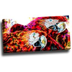 DesignArt Macaw Parrot Duo Graphic Art on Wrapped Canvas