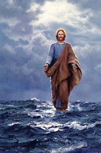 """""""Jesus Walking on the Sea"""", by Charles Vickery. """"And Jesus was a sailor.when he walked upon the water"""". Pictures Of Jesus Christ, Religious Pictures, Religious Art, King Jesus, Jesus Is Lord, Jesus Walk On Water, Jesus Painting, Our Father In Heaven, Jesus Art"""