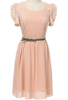Pink Contrast Lace Short Sleeve Pleated Chiffon Dress