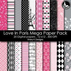 Free Printable 2 Digital Paper 12x12 love in paris see blog for password