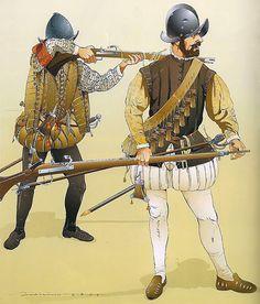 """""""Mosquetero y arcabucero españoles, Batalla de Lepanto, 7 de octubre de 1571"""""""