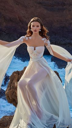 galia lahav gala 2018 bridal hanging sleeves sweetheart neckline ruched bodice romantic grecian soft a  line wedding dress chapel train (1) zv -- Gala by Galia Lahav Collection No. 5 Wedding Dresses