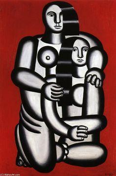 'deux chiffres, nu sur rouge bas', 1923 de Fernand Leger (1881-1955, France)