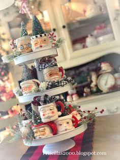 Priscillas: Vintage Santa Mug Tiered Tray Christmas Mantels, 1st Christmas, Christmas Decorations, White Christmas, Christmas Trees, Holiday Decor, Holiday Crafts, Holiday Ideas, Christmas Gifts