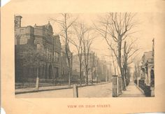 """Tennessee State Library and Archives:Caption: """"View on High Street,"""" portion of what later became 6th Avenue, showing large two-story houses, most with wrought-iron fencing. 1894>"""