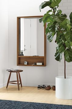 Rooms & catering - Loft Modern mirror with shelf - Modern mirror - Modern entrance furniture More notable examples of DIY home decor can be found at the link that guides you through the design Wall Mirror With Shelf, Wood Mirror, Hallway Mirror, Wall Mirrors, Entryway With Mirror, Bathroom Mirror With Storage, Bathroom Mirrors, Home Decor Bedroom, Room Decor