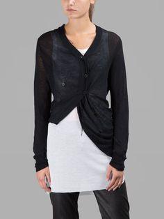 ANN DEMEULEMEESTER Ann Demeulemeester Women'S Black Cardigan. #anndemeulemeester #cloth #knitwear