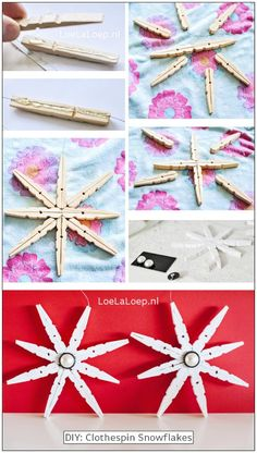 Clothespin Snowflake - 20 Genius DIY Recycled and Repurposed Christmas Crafts - Diy and crafts interests Diy Christmas Ornaments, Christmas Projects, Kids Christmas, Holiday Crafts, Christmas Decorations, Simple Christmas, Christmas Cookies, Fall Crafts, Easter Crafts