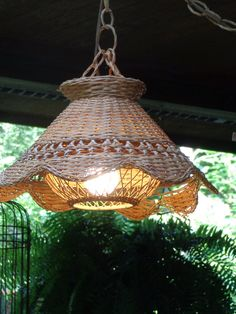 SOLD- top broke in shipping, I wonder if it ca be remade or decorated there- Hanging Wicker Lamp Natural 1970's Vintage Hanging by frstyfrolk, $35.00