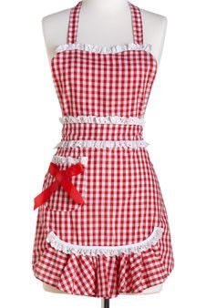 red gingham apron with a cute country chic twist