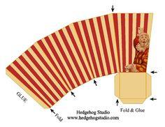 vintage circus popcorn box favor template