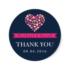 Navy Blue Pink Small Hearts Wedding Favor Sticker