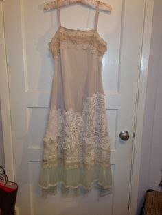 RESERVED Gatsby altered vintage slip dress with doilies, lace, tulle, wedding, eco wedding, special occasion womens medium