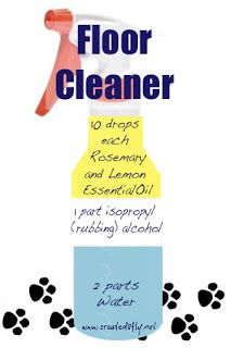 www.created2fly.net: DIY Floor Cleaner using Rosemary and Lemon essential oils