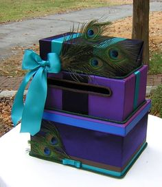 Three Tiered Wedding CARD Money BOX Lapis PEACOCKS Dupioni Silk. $125.00, via Etsy.