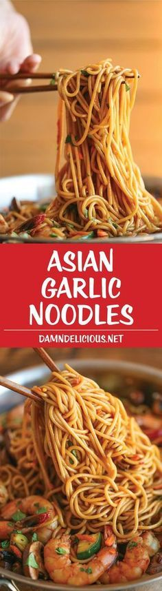 Asian Garlic Noodles - Easy peasy Asian noodle stir-fry using pantry ingredients that you already have on hand. Quick, no-fuss, and made in less than 30min!