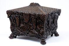19TH CENTURY ANTIQUE HEAVILY CARVED WALNUT WINE COOLER #GothicQueenAnneRegencyRenaissanceRomanticSheratonVenetianWilliamMaryWilliamIV #WINECOOLER