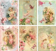 Vintage Inspired Angel Fairy Small Note Cards Tags ATC Altered Art Set 6 | eBay