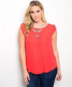 Elegant Red Blouse Plus