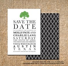 Save The Date  Oak Tree Typography by seahorsebendpress on Etsy, 4.00