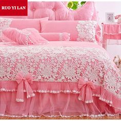White Pink Korean Princess Bedding Set 4pcs Lace Ruffles duvet cover bedspread…