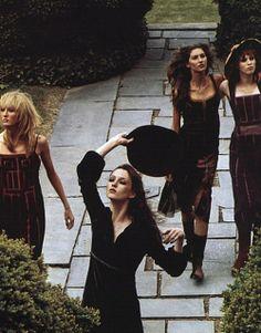 """A Gilded Age"" Karen Elson, Guinevere Van Seenus, Audrey Marnay, Gisele Bündchen and Maggie Rizer photographed by Steven Meisel for US Vogue, September 1999"