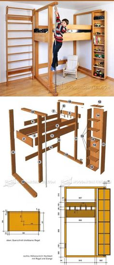 Loft Bed Plans - Children's Furniture Plans and Projects | WoodArchivist.com