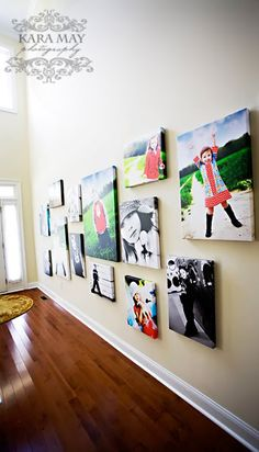 Canvas Wall Display of Personal Photos - I love the wall color, floor color, everything. Hallway, maybe? or stairwell? Photo Displays, Display Photos, Display Ideas, Family Room Design, Wall Collage, Wall Art, Photo Craft, Dream Decor, Canvas Pictures
