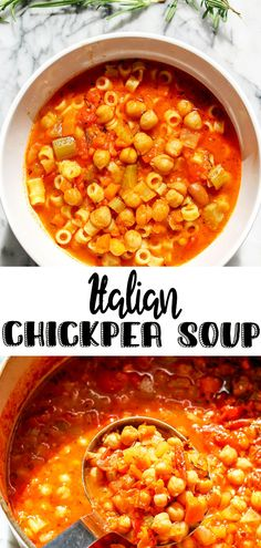Pasta e Ceci-Italian Chickpea Soup is a classic Roman dish that comes together in one pot. A rich tomato broth, hearty chickpeas and pasta, this is total Italian comfort food that's ready in 30 minutes! Healthy Breakfast Recipes, Healthy Recipes, Soup Recipes, Vegetarian Recipes, Chickpea Soup, Summer Drink Recipes, Best Italian Recipes, Soup And Sandwich