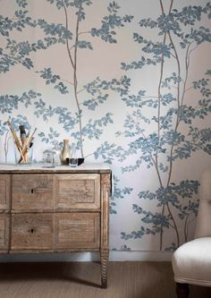 Beech Wallpaper in bluegrass from Lewis and Wood is a wide width wallpaper in a charming design featuring beech saplings growing up the wall, worldwide delivery available. Wallpaper Wall, Dining Room Wallpaper, Interior Wallpaper, Wallpaper Samples, Blue Wallpaper Bedroom, Wallpaper Designs For Walls, Fabric Wallpaper, Bedroom Wallpaper Feature Wall, Wall Paper For Bedroom