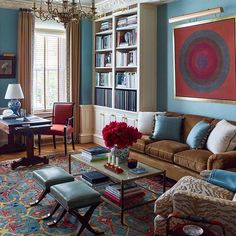 Can't go wrong with color! ⠀  Photo by @ericpiasecki ⠀  ⠀  ⠀  ⠀  ⠀  ⠀  #interiordesign #interiors #fromclassictocontemporary #design #nyc #piedaterre #color #uppereastside
