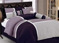 13 PC Comforter Sheet Set King Size Lavender Purple Gray New Bed in A Bag | eBay