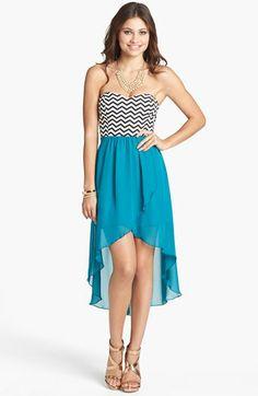 Trixxi Chevron Bodice High/Low Dress (Juniors) | Nordstrom