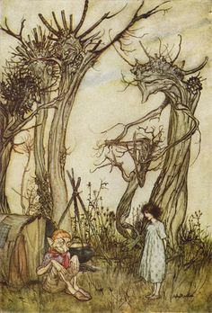 Arthur Rackham (1867-1939) illustration for 'Tales From Mother Goose'. His trees were so gnarly, twisted and strange that Guillermo Del Toro was influenced by them and apparently used a similar type in 'Pan's Labyrinth' and referred to it as the 'Rackham Tree'.