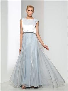シンプルジュエルネックキャップスリーブロングイブニングドレス