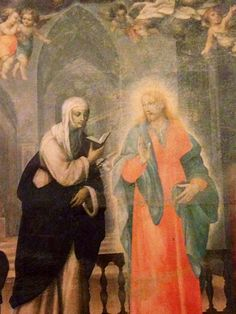 Jesus praying the Office with St. Catherine