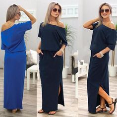 Emma™ - Side-Slit Maxi Dress with Pockets