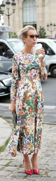 Floral long dress and coffee
