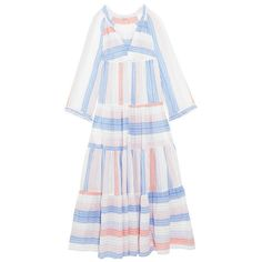 Stella McCartney Tiered Striped Cotton-Blend Maxi Dress ($1,645) ❤ liked on Polyvore featuring dresses, none, white maxi dress, tiered stripes dress, striped maxi dresses, braided maxi dress and striped dress