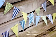 Blue Green Chevron Paper Bunting Paper Garland Pennant Banner---Perfect for a boy's room, baby shower decoration, gender reveal party, birthday party, etc.!