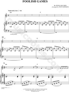 "Jewel ""Foolish Games"" Sheet Music (Piano Solo) - Download & Print"